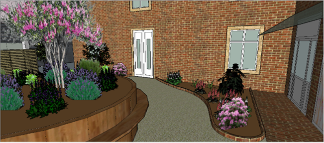 Visualisation 3D pour l'aménagement d'un patio avec massifs