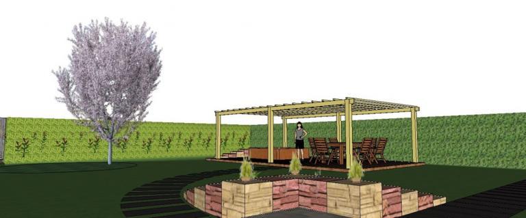 Vue en 3D d'un jardin