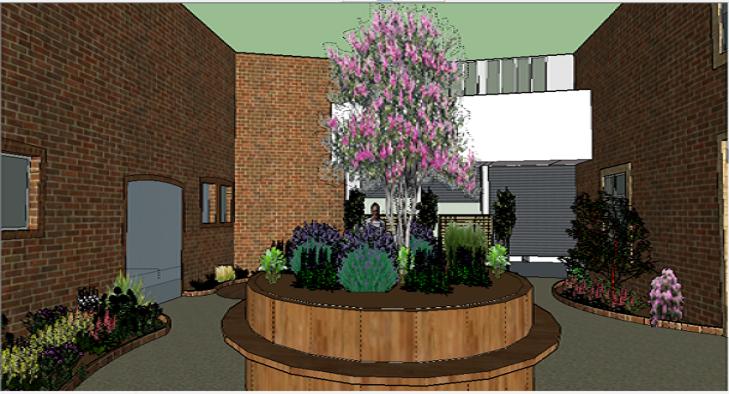 Visualisation 3D pour l'aménagement d'un patio avec banc central