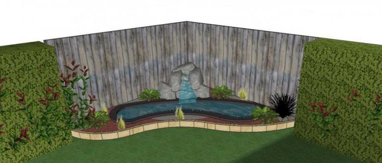 Visuel 3D d'un bassin avec cascade